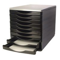 Q-CONNECT 10 DRAWER TOWER BLK GREY
