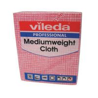 VILEDA MED WEIGHT CLOTH RED PK10 10
