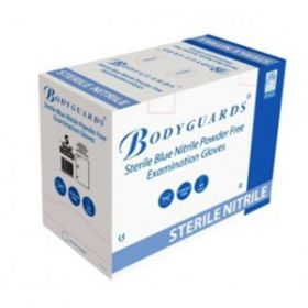 Bodyguards Sterile Blue Nitrile Powder Free Exam Gloves Size Small [50 Pairs]