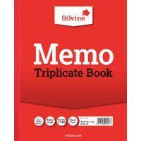 SILVINE TRIPLICATE BK 10X8 MEMO 606