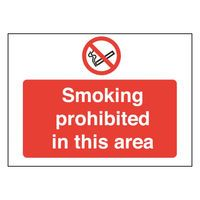 SMOKING PROHIBITED IN 450X600 PVC