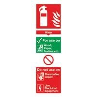 SIGN FIRE EQUIP WATER 300X100MM PVC
