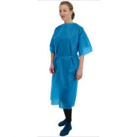 Patient Disposable Gowns Short Sleeve Blue [Pack of 50]