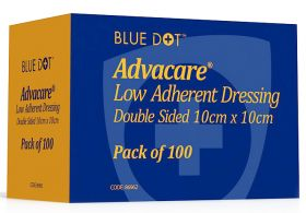 Advacare Sterile Low Adherent Double Sided Dressing 10cm X 10cm [Pack of 100]