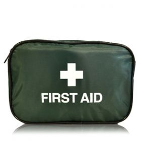 First Aid Empty Dark Green Zip Top Bag