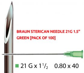 """Braun Sterican Needle 21g 1.5"""" Green [Pack of 100]"""