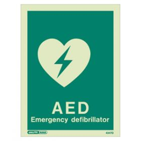 AED Emergency Defibrillator Photoluminescent Sign