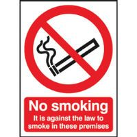 SAFETY SIGN A4 NO SMKNG LAW/PREMIS