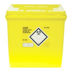 Clinical Waste 32 Litre Container - Yellow [Pack of 10]