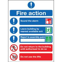 SAFETY SGN FRE ACTION SYMBOLS A4 PVC