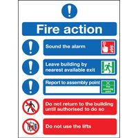 SAFETY SGN FIRE ACTION SYMBOLS A4 SA