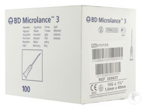 "BD 300637 Microlance Hypodermic Needle 16G x 1.5"" White [Pack of 100]"