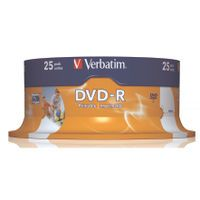 VERBATIM DVD-R 16X W PRNTBLE ID 25PK