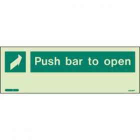 Photoluminescent Push Bar To Open Sign