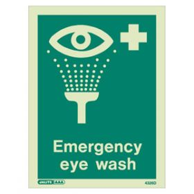 Emergency Eyewash Photoluminescent Sign