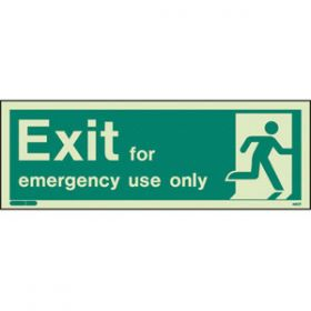 Photoluminescent Exit For Emergency Use Only & Running Man Sign