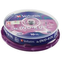VERBATIM DVD+R 8X DBL LYR SLVR PK10