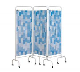 Three Panel Screen - Blue Patchwork