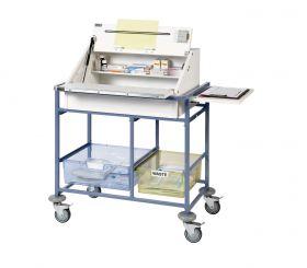 Ward Drug and Medicine Dispensing Trolley (medium capacity) - Divider System & 2 Storage Trays-White