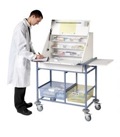 Ward Drug and Medicine Dispensing Trolley (large capacity) - Divider System & 2 Storage Trays-White