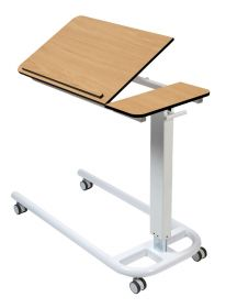 Over Bed Table, Parallel Base & 2 Piece Tilting Compact Grade Flat Laminate Top with Retaining Lip-Beech