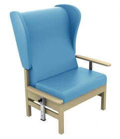 Atlas High-Back 40st Bariatric Arm Chair with Drop Arms - (Anti-bacterial Vinyl)-Cool Blue