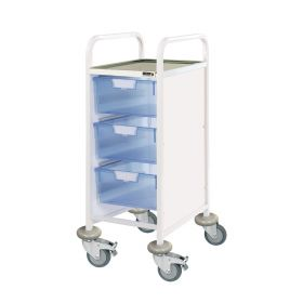 VISTA 30 Clinical Trolley - 3 Double Depth Trays-Blue
