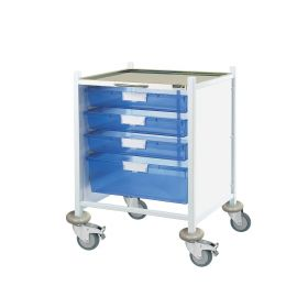 VISTA 40 Clinical Trolley - 3 Single/1 Double Depth Trays-Blue