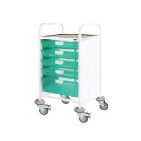 VISTA 50 Clinical Trolley - 4 Single/1 Double Depth Trays-Green