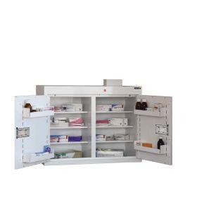 Medicine Cabinet, 6 shelves/4 door trays, 2 doors