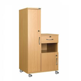 Left Hand Bedside Cabinet Combination Unit with Locks, Manufactured from MFC Material
