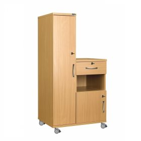 Left Hand Bedside Cabinet Combination Unit with Locks, Manufactured from Laminate Faced MDF Material