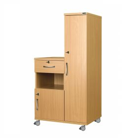 Right Hand Bedside Cabinet Combination Unit with Locks, Manufactured from Laminate Faced MDF Material