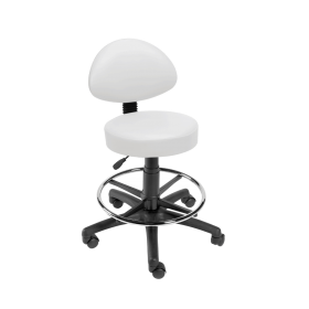 Gas-lift Stool with Back-Rest & Foot Ring-White