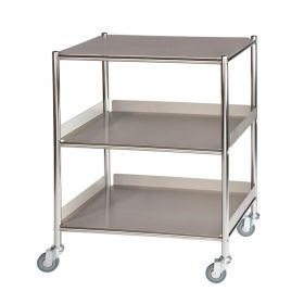Surgical Trolley – 1 Stainless Steel Shelf & 2 Trays Sun-ST6S3SF