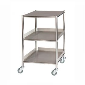 Surgical Trolley – 1 Stainless Steel Shelf & 2 Trays