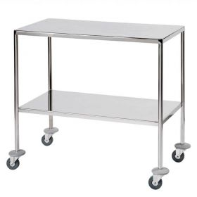 Surgical Trolley – 2 Fully Welded Fixed Shelves (flange down) Sun-STFW9-FFS2