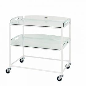 Dressings Trolley – 2 Glass Effect Safety Trays Sun-DT8G2