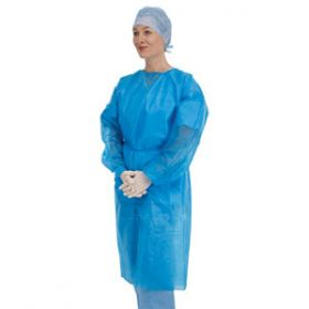 Premier Blue Examination Gowns With Stockinette Cuff [Pack of 50]