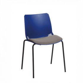 Neptune Visitor Chair, No Arms - Blue Moulded Seat with Grey Inter/VeneTM Upholstered Seat Pad