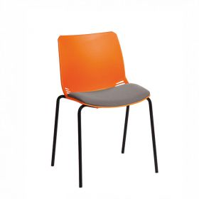 Neptune Visitor Chair, No Arms - Orange Moulded Seat with Grey Inter/VeneTM Upholstered Seat Pad