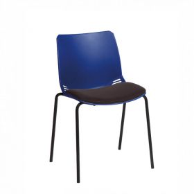 Neptune Visitor Chair, No Arms - Blue Moulded Seat with Black Inter/VeneTM Upholstered Seat Pad