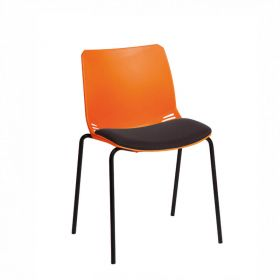Neptune Visitor Chair, No Arms - Orange Moulded Seat with Black Inter/VeneTM Upholstered Seat Pad