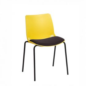 Neptune Visitor Chair, No Arms - Yellow Moulded Seat with Black Inter/VeneTM Upholstered Seat Pad