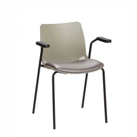 Neptune Visitor Chair, With Arms - Grey Moulded Seat with Grey Vinyl Upholstered Seat Pad