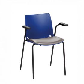 Neptune Visitor Chair, With Arms - Blue Moulded Seat with Grey Vinyl Upholstered Seat Pad