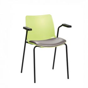 Neptune Visitor Chair, With Arms - Green Moulded Seat with Grey Vinyl Upholstered Seat Pad