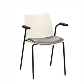 Neptune Visitor Chair, With Arms - Ivory Moulded Seat with Grey Vinyl Upholstered Seat Pad