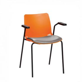 Neptune Visitor Chair, With Arms - Orange Moulded Seat with Grey Vinyl Upholstered Seat Pad