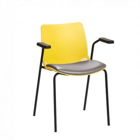 Neptune Visitor Chair, With Arms - Yellow Moulded Seat with Grey Vinyl Upholstered Seat Pad